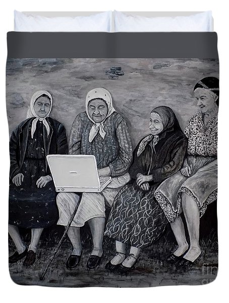 Duvet Cover featuring the painting Computer Class by Judy Kirouac