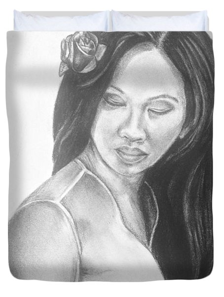 Long Hair Asian Lady With Rose In Sorrow Charcoal Drawing  Duvet Cover
