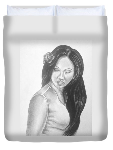 Female In Sorrow Charcoal Drawing  Duvet Cover