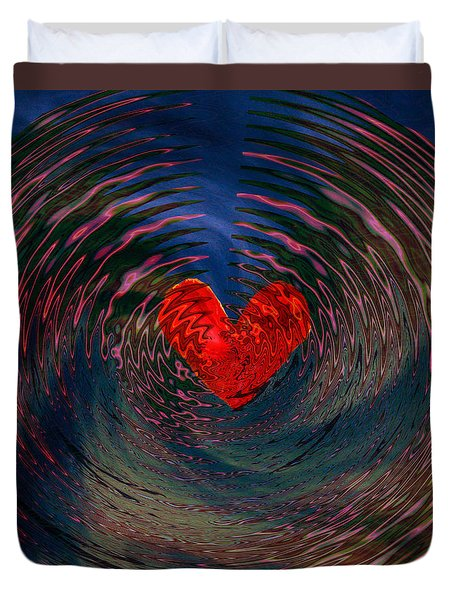 Duvet Cover featuring the digital art Concentric Love by Linda Sannuti