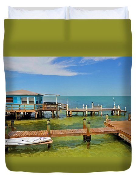Conch Key Blue Cottage 3 Duvet Cover