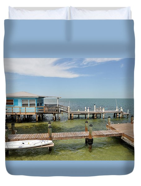 Conch Key Blue Cottage Duvet Cover