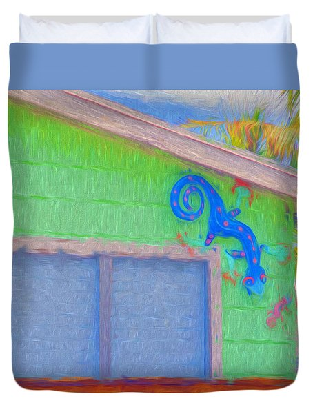 Conch Key Lizard Wall Art Duvet Cover