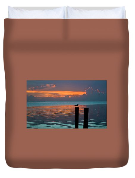 Conch Key Sunset Bird On Piling Duvet Cover