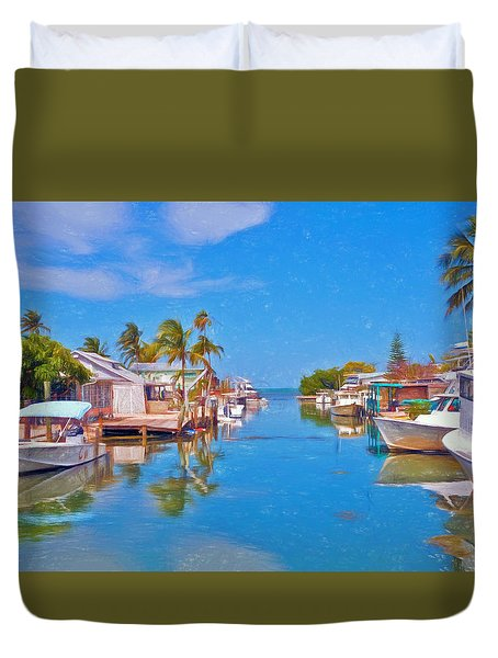 Conch Key Waterfront Living 3 Duvet Cover