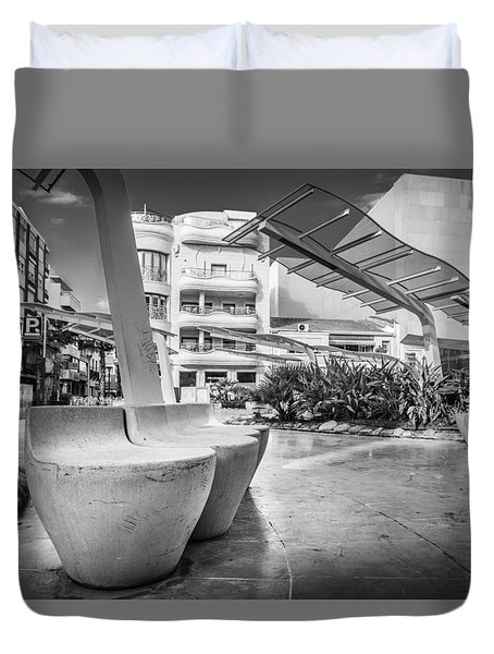 Duvet Cover featuring the photograph Concrete Seats. by Gary Gillette