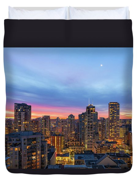 Condominium Buildings In Downtown Vancouver Bc At Sunrise Duvet Cover