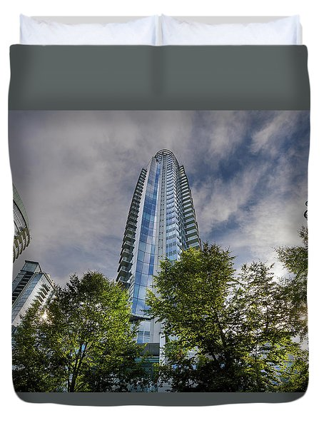 Condominiums Along Waterfront In Vancouver Bc Duvet Cover by David Gn