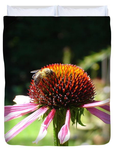 Cone Flower And Honey Bee Duvet Cover