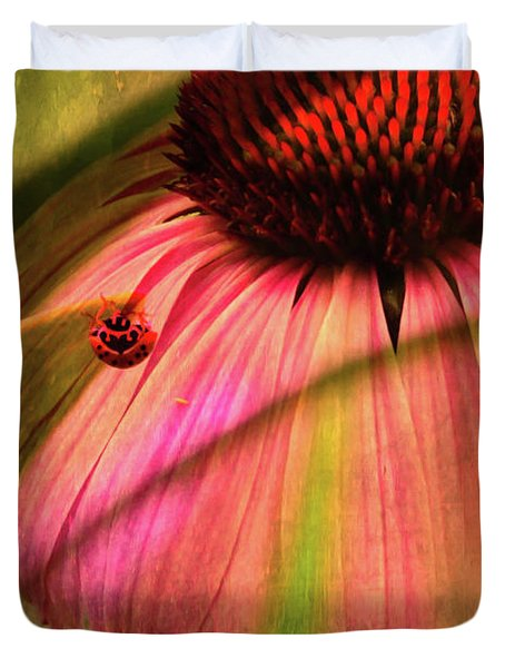 Cone Flower And The Ladybug Duvet Cover