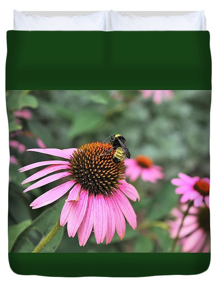 Duvet Cover featuring the photograph Cone Flowers And Bee by Sheila Brown