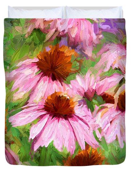 Duvet Cover featuring the photograph Cone Flowers by John Freidenberg