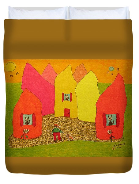 Cone-shaped Houses Man With Dog Duvet Cover