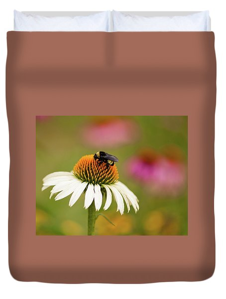 Coneflower And Bee Duvet Cover by Phyllis Peterson