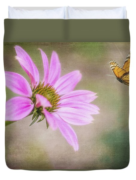 Coneflower And Butterfly Duvet Cover