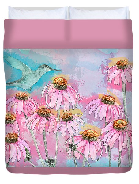 Duvet Cover featuring the photograph Coneflower Hummingbird Watercolor by Patti Deters