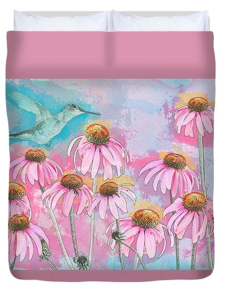Coneflower Hummingbird Watercolor Duvet Cover