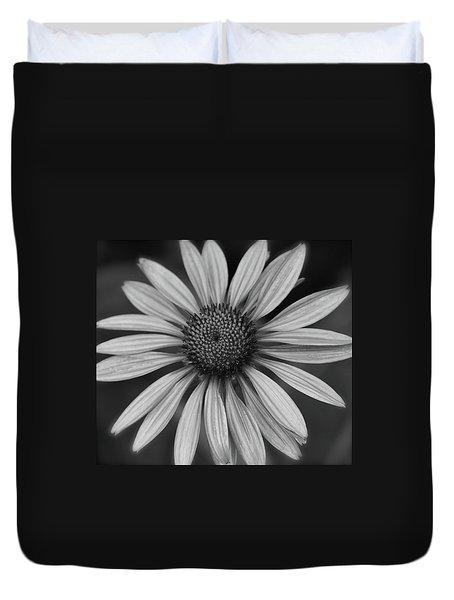 Coneflower In Black And White Duvet Cover
