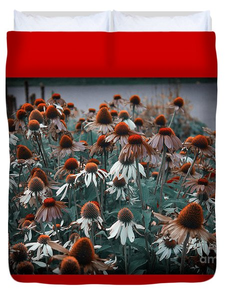 Coneflowers Bits Of Torquise Duvet Cover