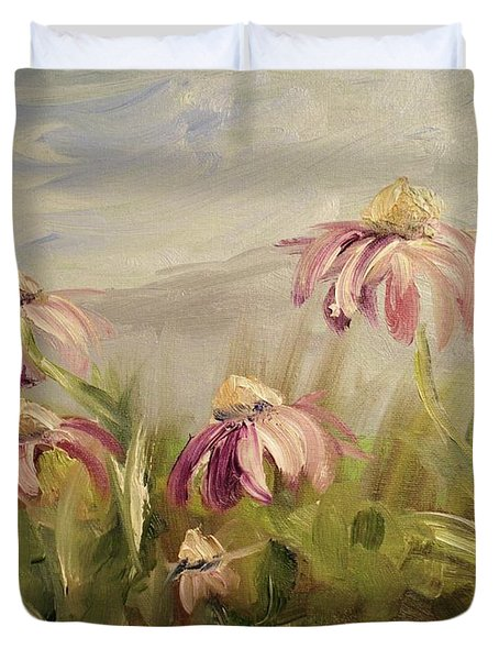 Duvet Cover featuring the painting Coneflowers by Donna Tuten