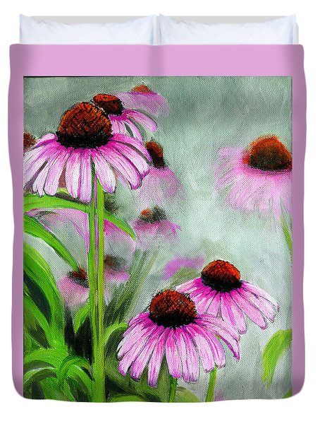 Coneflowers In The Mist Duvet Cover
