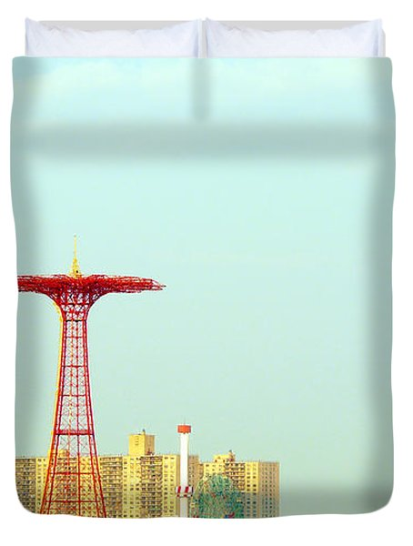 Coney Island Amusement Park Duvet Cover