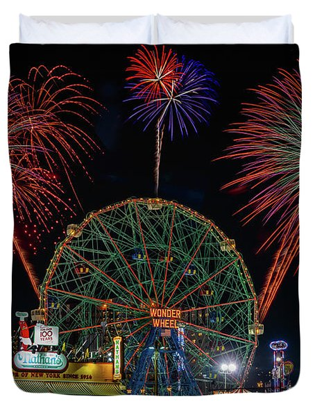 Coney Island At Night Fantasy Duvet Cover