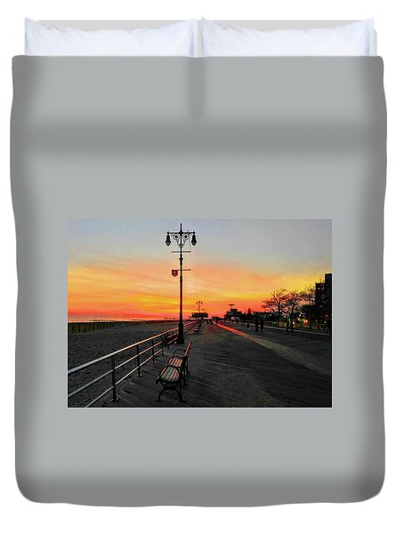 Coney Island Boardwalk Sunset Duvet Cover