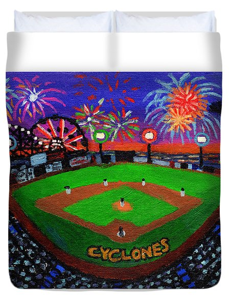 Coney Island Cyclones Fireworks Display Duvet Cover