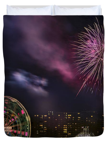 Duvet Cover featuring the photograph Coney Island Fireworks by Susan Candelario