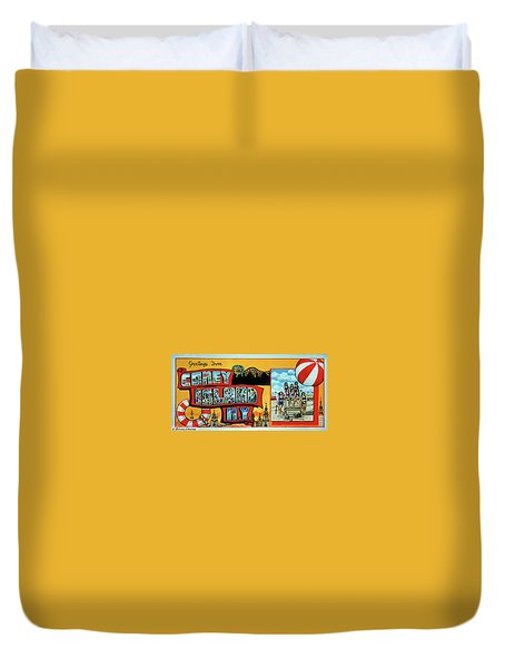 Coney Island Post Card Duvet Cover