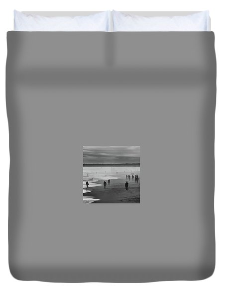 Coney Island Walkers Duvet Cover