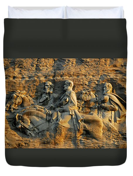 Confederate Carvings Duvet Cover