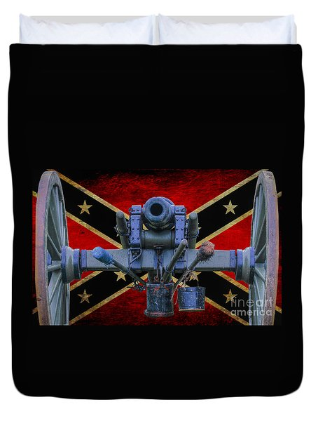 Confederate Flag And Cannon Duvet Cover