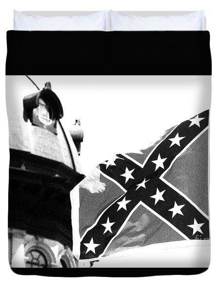 Confederate Flag Bw Duvet Cover