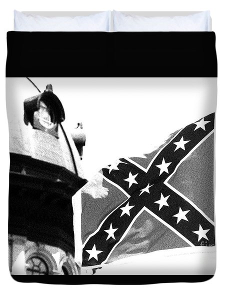 Duvet Cover featuring the photograph Confederate Flag Bw by Joseph C Hinson Photography