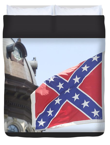 Duvet Cover featuring the photograph Confederate Flag Color by Joseph C Hinson Photography
