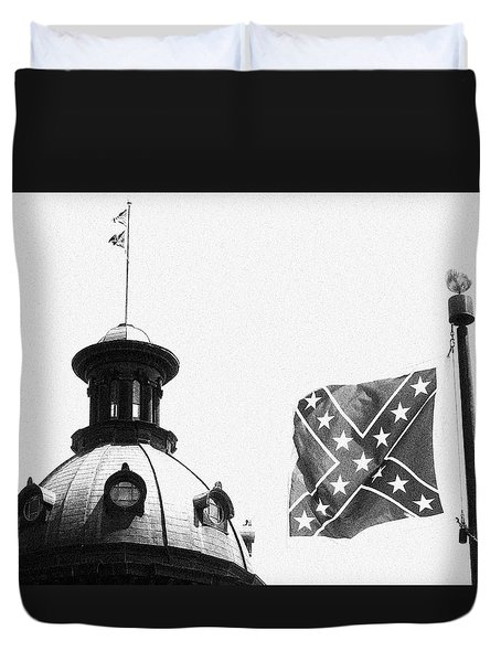 Confederate Flag In Black And White Duvet Cover