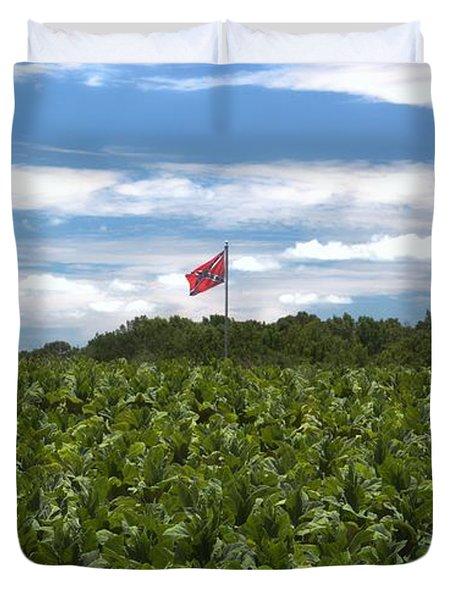 Confederate Flag In Tobacco Field Duvet Cover
