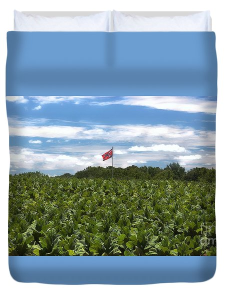 Confederate Flag In Tobacco Field Duvet Cover