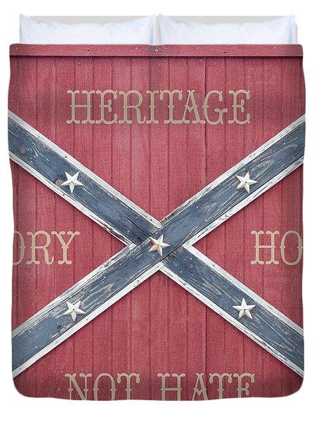 Confederate Flag On Wooden Door Duvet Cover