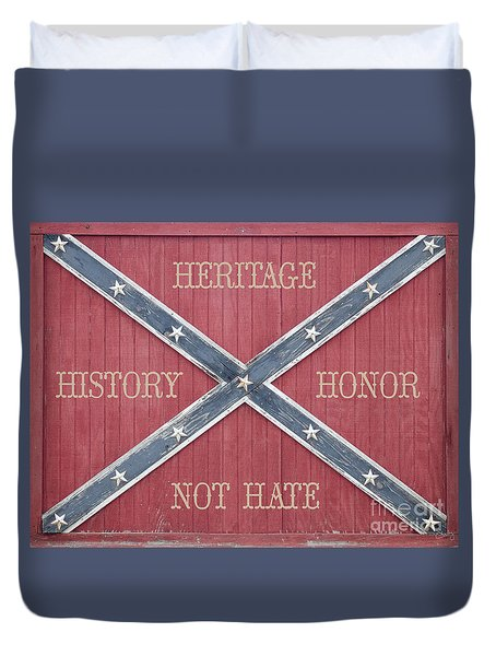 Confederate Flag On Wooden Door Duvet Cover