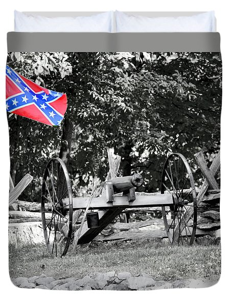 Duvet Cover featuring the photograph Confederate Flag With Canon by Bonnie Willis
