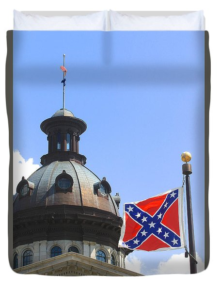 Duvet Cover featuring the photograph Confederate Flag On State House Grounds by Joseph C Hinson Photography