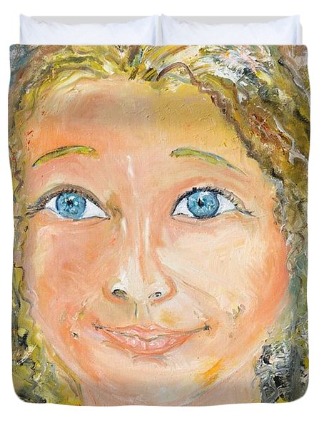 Duvet Cover featuring the painting Confident Smile by Evelina Popilian