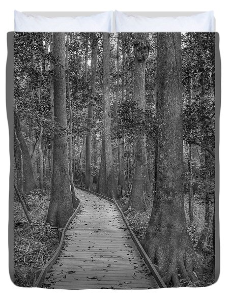 Duvet Cover featuring the photograph Congaree 2017 03 Bw by Jim Dollar