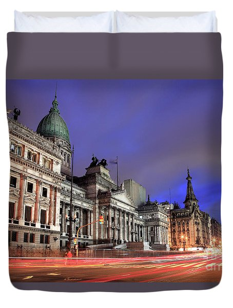 Duvet Cover featuring the photograph Congress  by Bernardo Galmarini