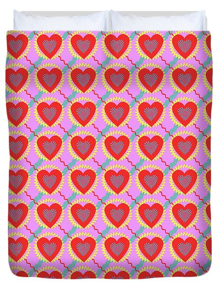 Connected Hearts Pattern Duvet Cover
