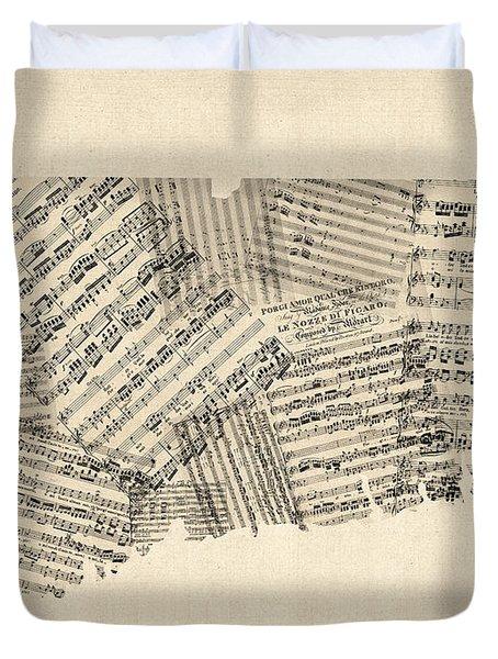 Connecticut Sheet Music Map Duvet Cover