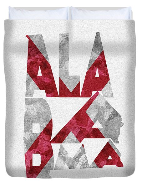 Duvet Cover featuring the painting Alabama Typographic Map Flag by Inspirowl Design
